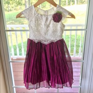 White Lace Top with Organza Bottom Dress 5